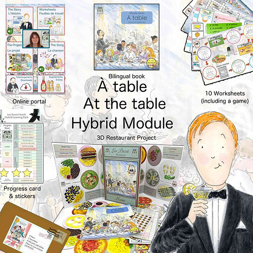 At the table - Single Hybrid module (2 Child -to learn French)