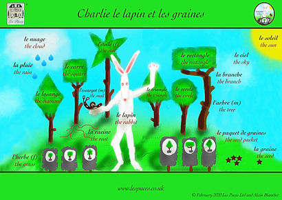 Les Puces French Classes for Kids vocabulary Sheet shapes and plants, English and French words for shapes and plants as well as rabbit and snail, in the gaden, gardening, planting, trees, shapes, French English