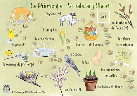 Les Puces French English vocabulary sheet for Spring, spring flowers in French, spring animals, French spring cleaning, kids learning, primary school, pre-school, free french print out