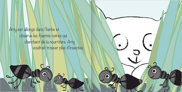 Arty and the Insects, bilingual book French English for children aged 3-11 years, kids french books, tuition, after school classes, learn french, insects
