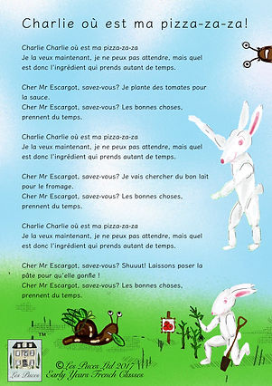 French song lyrics sheet food pizza ingredients for children