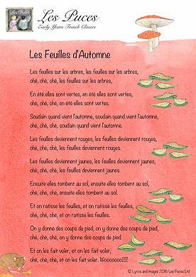 Lyrics in French for the Autumn song Les Feuilles d'Automne - Les Puces Ltd