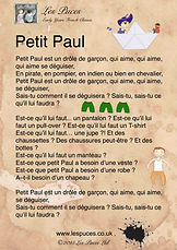 Song Lyrics Sheet for Petit Paul