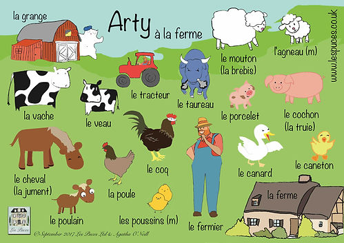 Farm animals in French vocabulary sheet for children, French words for farm animals, vocabulary for French farm animals, Les Puces vocabulary sheet for farm animals in French