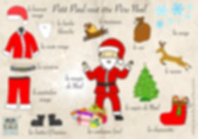 Christmas vocabulary in French, French Christmas vocabulary sheet.  Les Puces Christmas vocabulary sheet.  French chrostmas words, children's Christmas French vocabulary. French vocabulary for Christmas, French Christmas words. Les Puces French Christmas vocabulary sheet