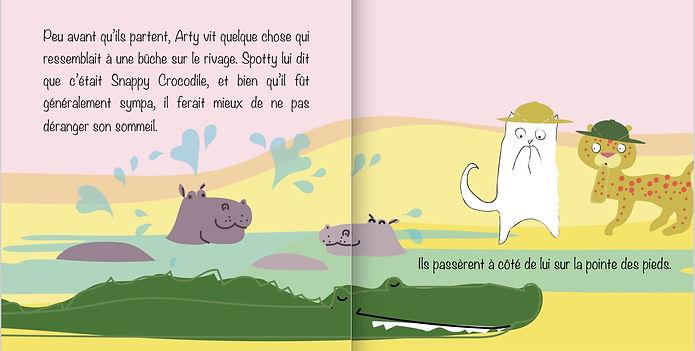 Inside page of Arty on Safari bilingual flip it book