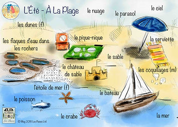 seaside french vocabulary, At the sea side French words, on the beach French vocabulary, first French words for the beach, summer holidays on the beach in French, Les Puces Summer beach vocabulary sheet