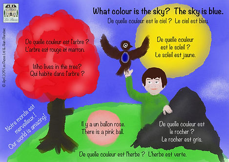 Les Puces What colour is the sky? vocabulary sheet for simple sentence structure and shapes and colours, french vocabulary for children, kids colours, shapes,