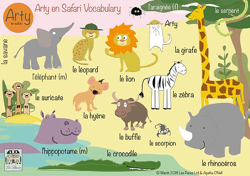 Safari aminals in French, vocabulary for african safari animals in French, French words for safari animals, french vocabulary sheet for african safari animals, Les Puces safari animals French vocabulary sheet