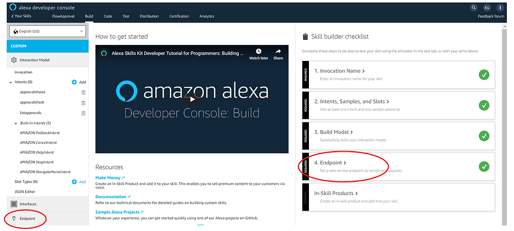 Adding the endpoint in the Alexa Developer Console
