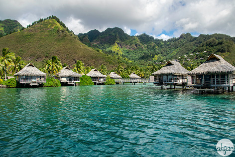 Overwater bungalows in Mo'orea, French Polynesia.  Price List #1  Also available in *Panoramic format