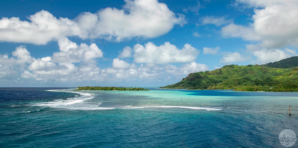 Sailing past the blue waters that surround Huahine, French Polynesia.  Price List #1 *Panoramic format  Also available in landscape format under Price List #1