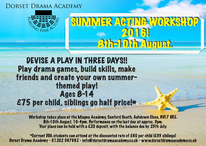 BOOK NOW - Summer Acting Workshop