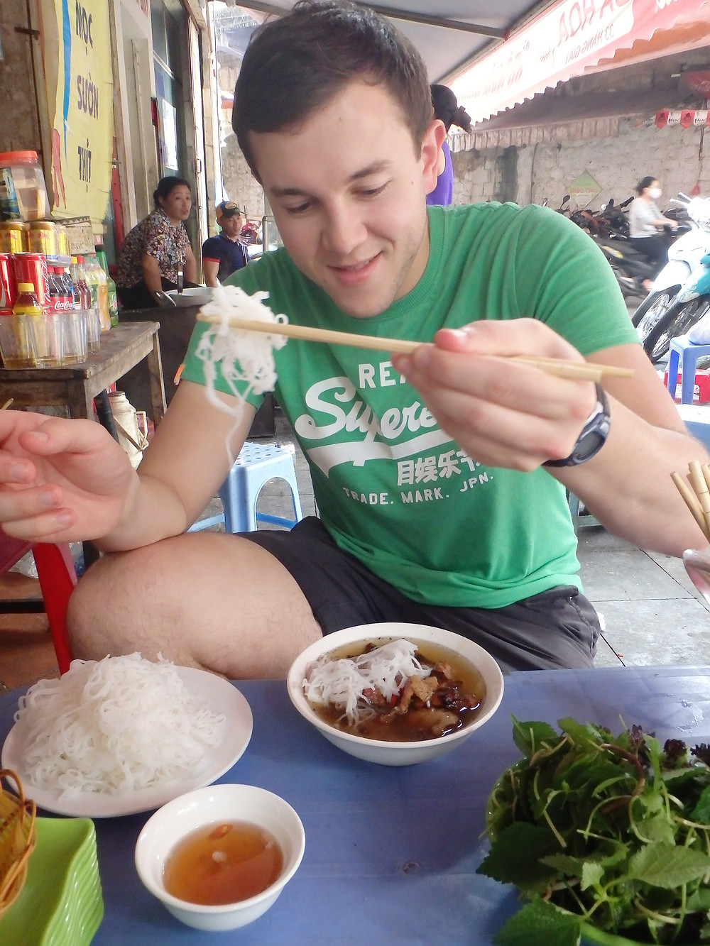 Our first taste of Hanoi street food!