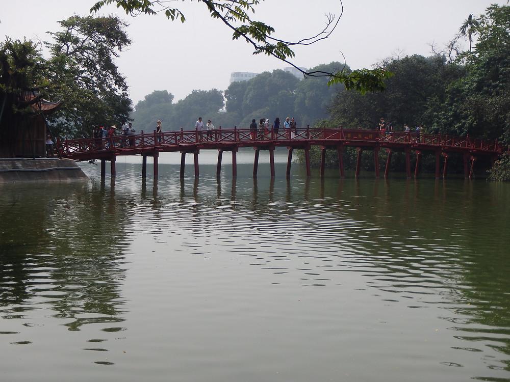 The Huc Bridge over Hoan Kiem Lake