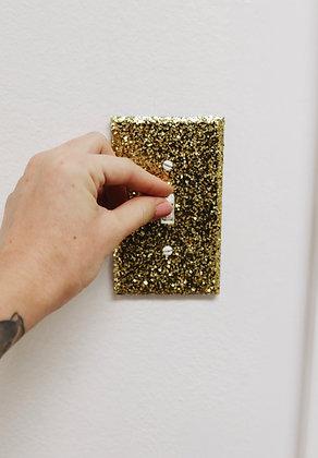 Gold glitter light switch plate
