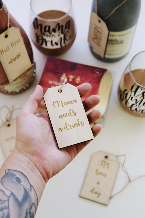 Wood wine gift tags