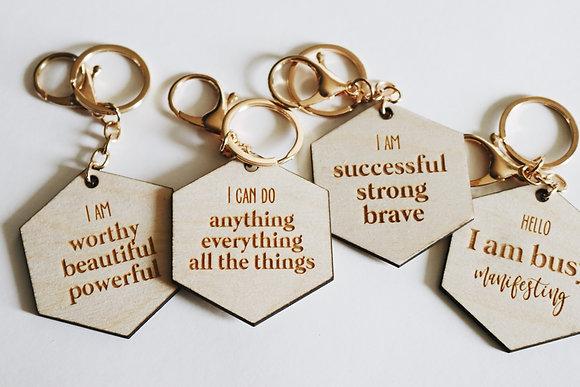 Wood affirmation keychain