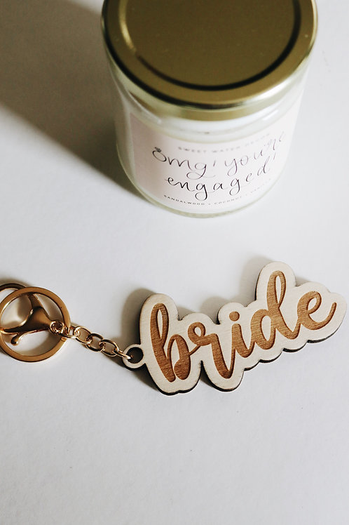 Bride wood keychain