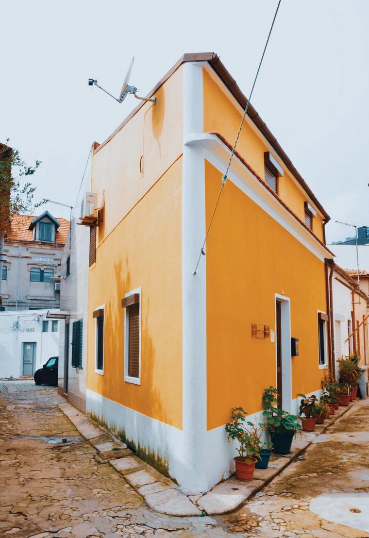 orange building with sharp corner