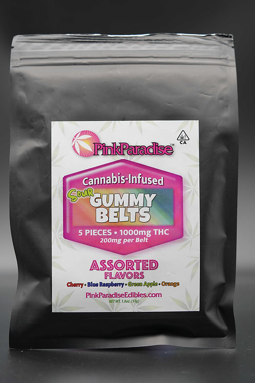 Assorted Sour Belts (1000MG THC) - Pink Paradise