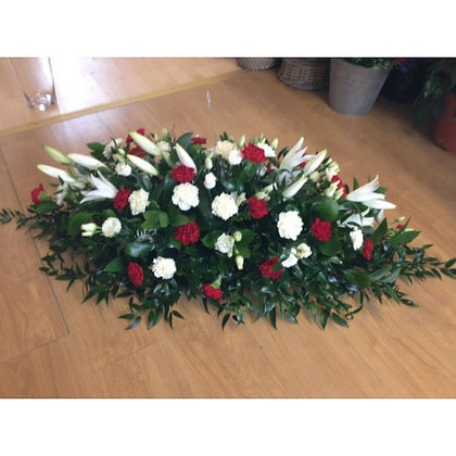 Casket Spray - White and Red