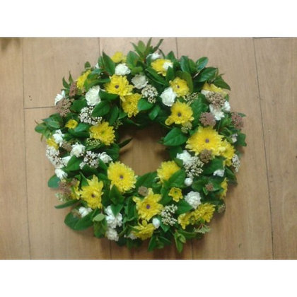 Traditional Wreath - Yellow , White, Green