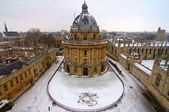 Snow scene of the Radcliffe Camera reading room at Oxford