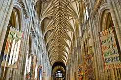 The soaring pillars and ceiling of teh nave at Winchester Cathedral
