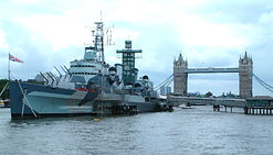 HMS Belfast on the River Thames near Tower Bridge