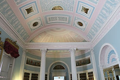 Robert Adam's stunning ceiling in the library at Kenwood House