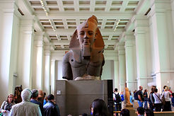 a huge statue of Rameses II in the British Museum