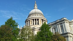The domeof St Paul's Cathedral standing proud against the blue skies of London