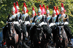 The Cavalry Officers of the Blues and Royals riding to the Changing of the Guard