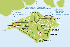 Isle of Wight Map, taxis on the Isle of Wight to all destinations, taxis in Ryde