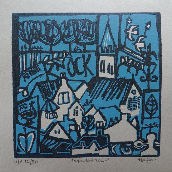 Market Town Lino Print
