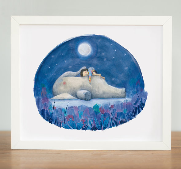 Elephant Sleeping - Print