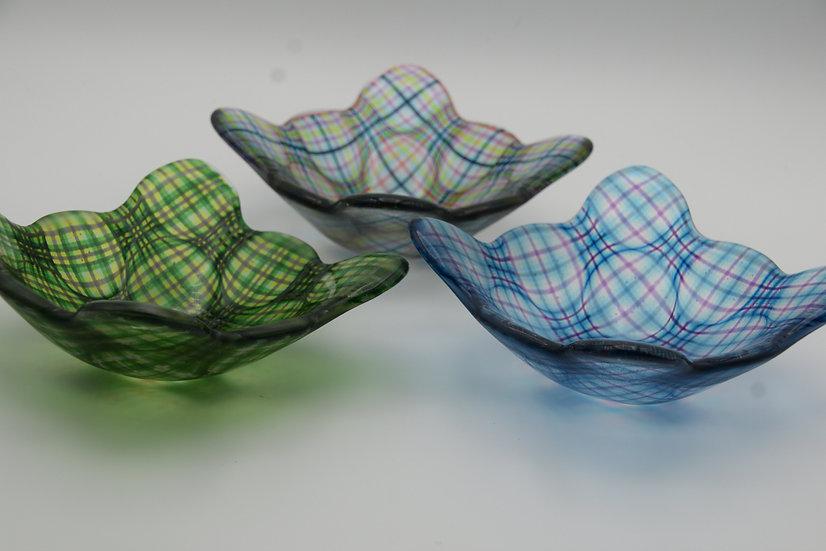 Plaid Glass Trinket Dish