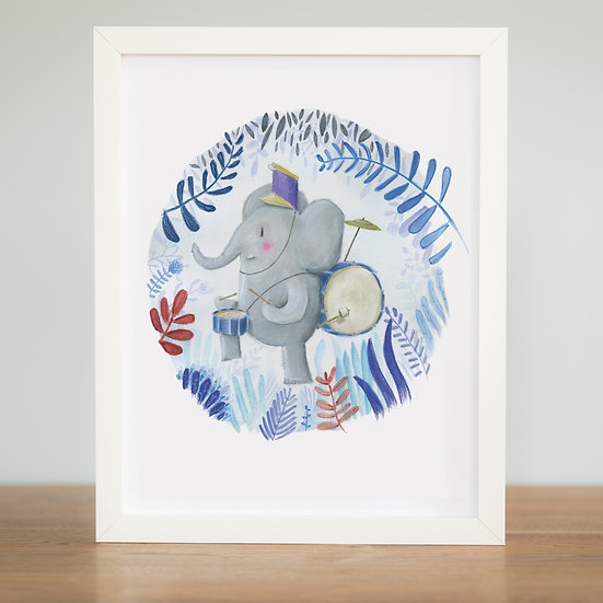 Elephant Jungle Marching Band - Print