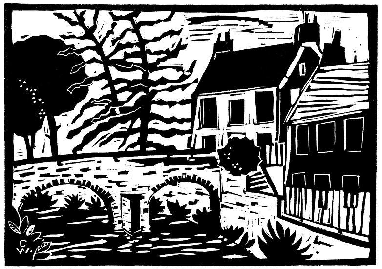 Linoprint: Packhorse Bridge Alyth