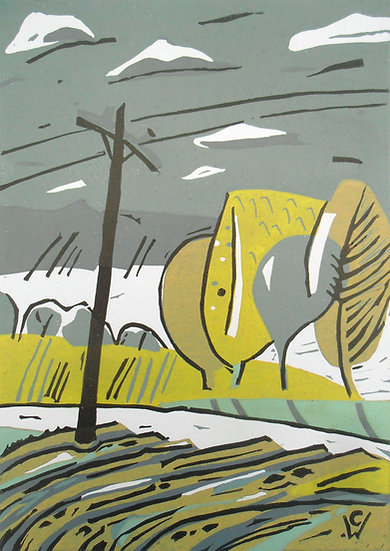 Highland Series: Telephone Pole Reduction Linoprint