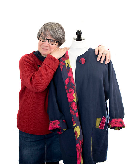 Navy Applique Linen Jacket