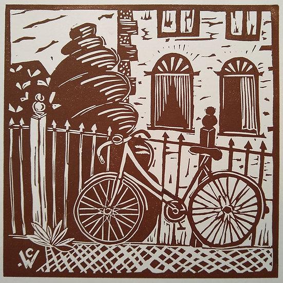 Linoprint: My Bicycle