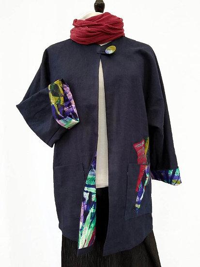 Navy Applique Linen Jacket 'Leaves'