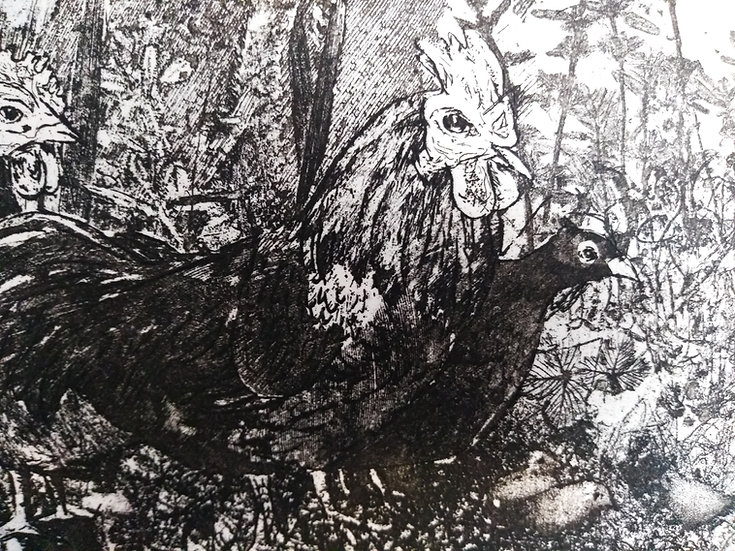 Hens Etching