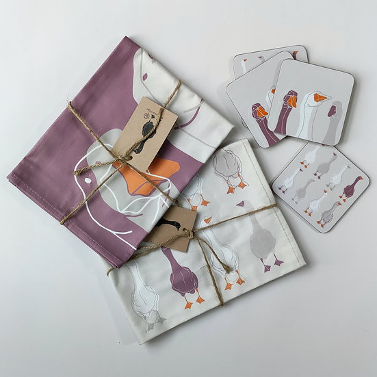 Goose Tea Towels and Coasters Bundle