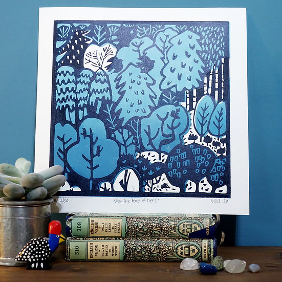 'For the Love of Trees' Lino Print