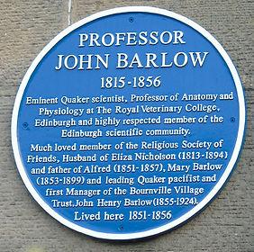 Blue Plaque Professor John Barlow