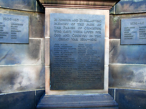 Ormiston War Memorial Plaque. East Lothi