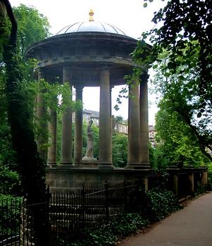 Temple of St Bernard's Well stone carving Edinburgh